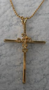 Cross on Chain with Rhinestones Vintage Gold Color in Houston, Texas